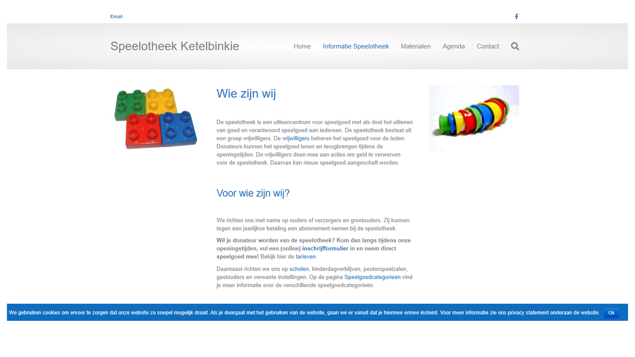 Schermprint website Speelotheek Ketelbinkie